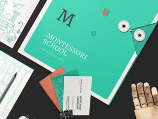 Логотип и фирменный стиль школы Montessori